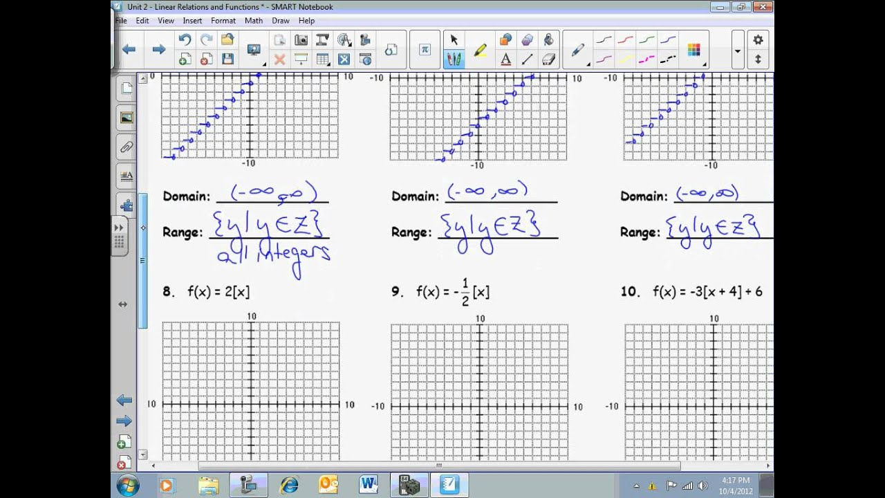 Graphing Greatest Integer Functions Worksheet – Greatest Integer Function Worksheet