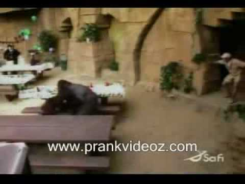 Funny gorilla prank scares the crap out of the guy lol