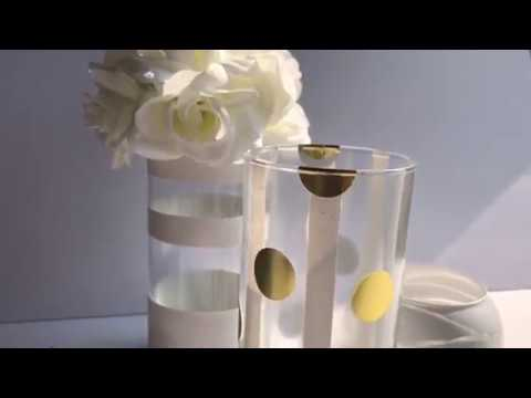 DIY DOLLAR TREE | GOLD AND WHITE CENTERPIECE OR CANDLE HOLDER IDEA