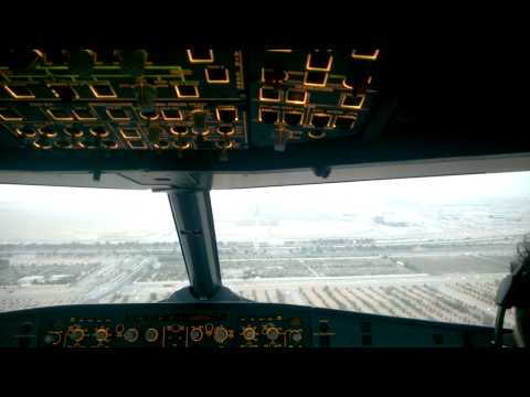 Landing in Abu Dhabi. Airbus A320. Ferrari world