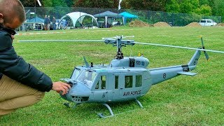 HUGE RC BELL UH-1D HUEY VARIO TURBINE SCALE MODEL HELICOPTER DEMO FLIGHT