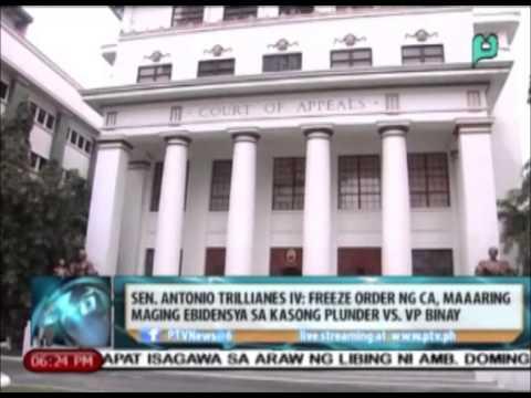 Sen. Trillanes: Freeze order ng CA, maaaring maging ebidensya sa kasong plunder vs. VP Binay
