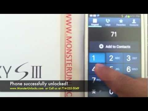 How to Unlock Samsung Galaxy S3 (III) SGH-i747, At&t by unlock code