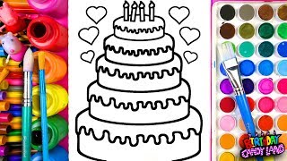 Learn Coloring for Kids and Color Five-Layer Birthday Cake Coloring Pages 💜