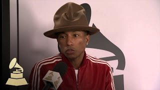 Pharrell Video - Pharrell interview at 56th GRAMMY Wrap Up Show