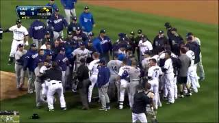 Carlos Quentin breaks !!! Zack Greinke collarbone in brawl with Padres Fight 4 11 13