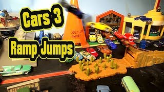 Pixar Cars 3 Ramp Jumps with Lightning McQueen Jackson Storm Cruz Ramirez and Mater from Mattel
