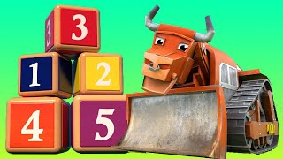 Learn numbers with Bulldozer - Learning for kids with Vehicles & Animals - AnimaCars