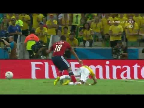 WM 2014 Quarter final NEYMAR brutally FOUL from a Columbian Player.