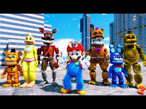 ANIMATRONICS & SUPER MARIO ODYSSEY ADVENTURE! (GTA 5 Mods For Kids FNAF RedHatter)