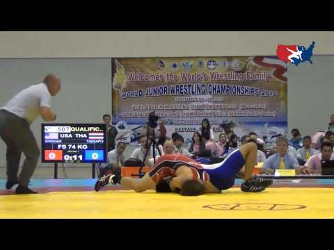 2012 Junior Worlds - FS 74kg - Alex Dieringer (USA) vs. Paswang Tadsapol (THA)
