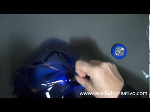 Cómo hacer una lámpara con una garrafa y una botella de plástico How to make a lamp plastic bottles