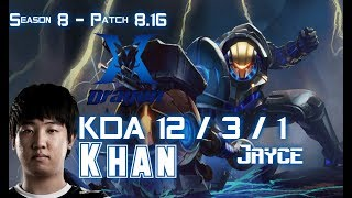 KZ Khan JAYCE vs SION Top - Patch 8.16 KR Ranked