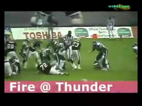 Berlin Thunder vs Rhein Fire 2005 game clip with press conference @ web62.com Internet TV