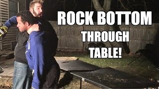 ROCK BOTTOM THROUGH A TABLE! Backyard Wrestling TABLES MATCH!