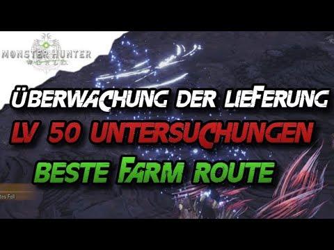 Monster Hunter World - Beste Farm Route, LV 50 Untersuchungen, Überwachung der Lieferung - MHW
