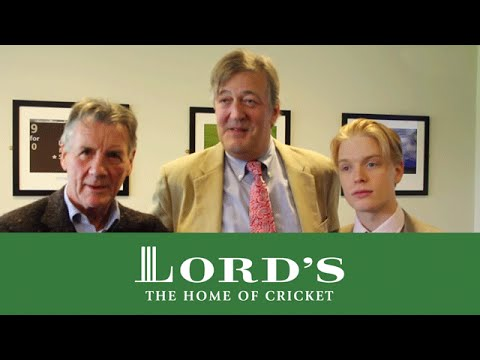 Stephen Fry, Michael Palin and Freddie Fox at Lord's