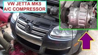 Vw Jetta MK5 A/C Compressor Replacement  Vw Golf MK5 Air Conditioner Compressor Replacement
