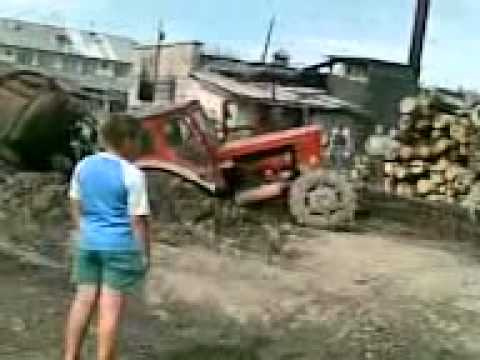 Russian tractor  broken in half :))))