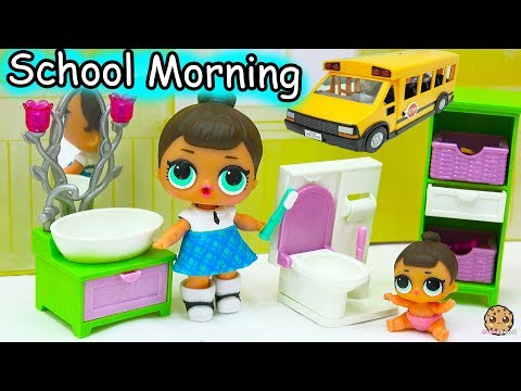 LOL Surprise Big & Lil Sisters School Day Morning Time Routine - Eat Breakfast, Brush Teeth thumbnail