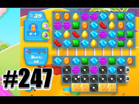Candy Crush Soda Saga Level 247   Complete with Lollipop Striped Booster!