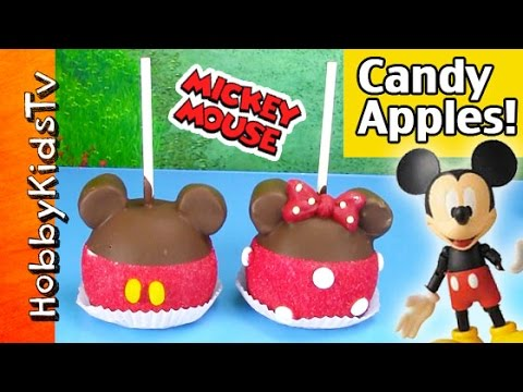 Disney CHOCOLATE Apples! Mickey Mouse, Minnie Mouse Downtown Disney Candy Carmel HobbyKidsTV