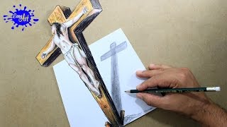 DRAWING JESUS ON  THE CROSS 3D/ How to draw Jesus /semana santa.