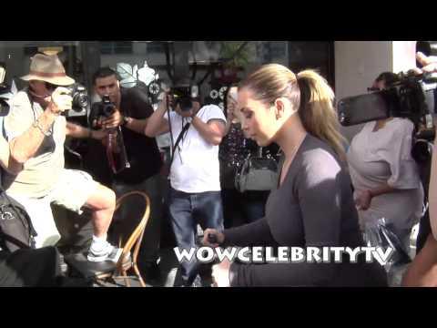 Kourtney Kardashian and Kim Kardashian with Baby North West go to lunch in Beverly Hills