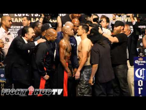 Floyd Mayweather vs Robert Guerrero full Weigh in (HD)