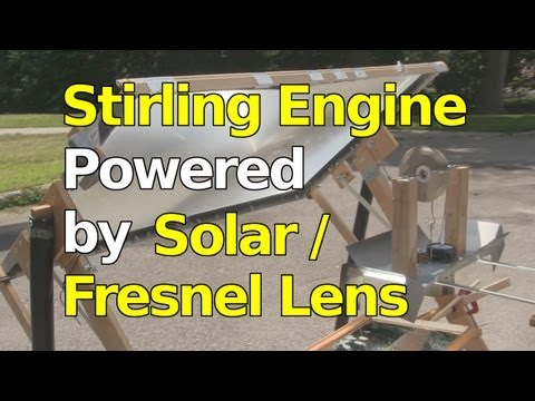 Stirling Engine Powered by Fresnel Lens/Concentrated Solar Power