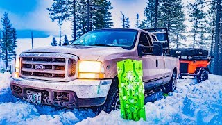 Snow Camping Ford Stuck in the Mountains