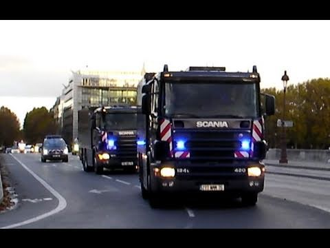 Police Motorcade Escort Banque de France Scania Trucks: COTEP Gendarmes BMW Motorcycles