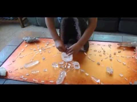 8 year old kid builds crystal grids to clear negative energy and explains how it works