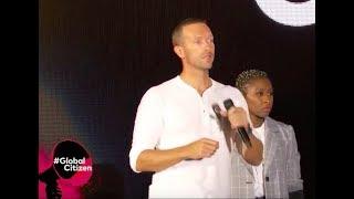 Chris Martin Calming The Crowd After A Fallen Barrier