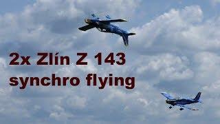 Synchro flying 2x giant Zlin Z 143, scale RC airplanes, 2018