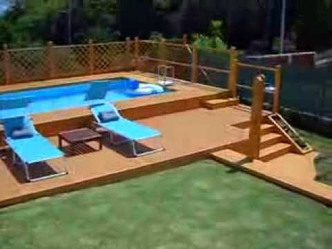 Piscina fuori terra 5x10 con solarium in legno youtube for Piscine 3x5