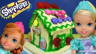 SHOPKINS Vanilla House! ELSA & ANNA toddlers build & decorate it with lots of royal icing & candies!