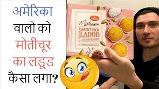 American Try Indian Sweets Motichoor Ladoo  The Indian Food Challenge