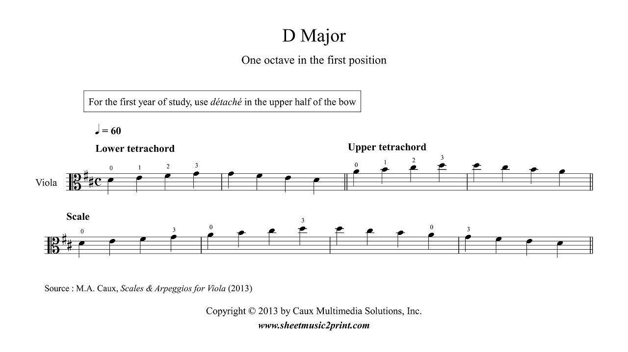 Viola : D Major Scale & Arpeggio for beginners - YouTube
