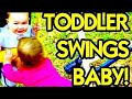 TODDLER DANGEROUSLY SWINGING BABY!!! | Day 1763