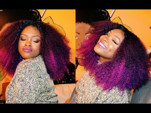 KinkyCurlyYaki Hair Review: How to make a Full Wig with a Lace Closure (I have PURPLE HAIR!!!)
