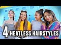 4 EASY HEATLESS HAIRSTYLES FOR BACK TO SCHOOL!✏️📒 thumbnail