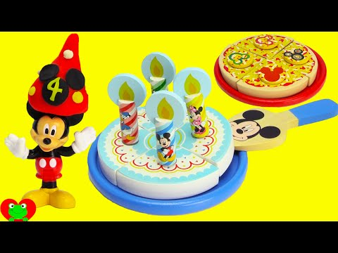 Mickey Mouse Club House Wooden Pizza and Birthday Cake Set