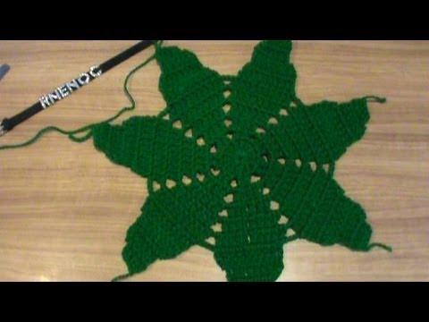 2 de 2 como tejer base hojas flor nochebuena carpeta - Como hacer flores de ganchillo ...