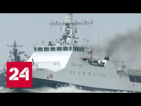 30 военных кораблей вышли на репетицию парада в Балтийске