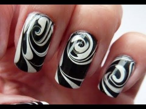 Water Marble For Short Nails, Black &amp; White Swirl Nail Art Design Tutorial HowTo HD Video