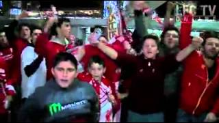 fan cries as Liverpool arrive in Melbourne..
