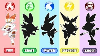 Pokemon Type Swap - Scorbunny Grass, Water, Electric And Ghost.
