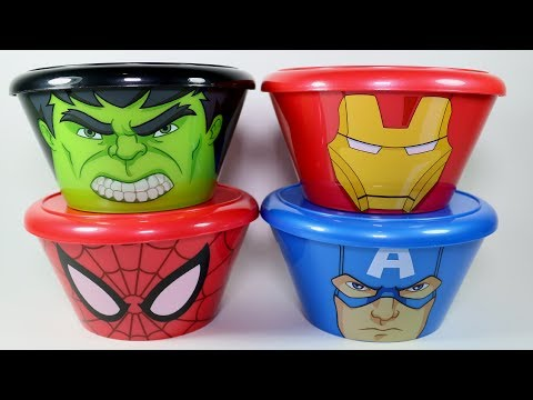 Marvel Heads Iron Man Hulk Captain America Spider-Man Kinder Joy Surprise Eggs