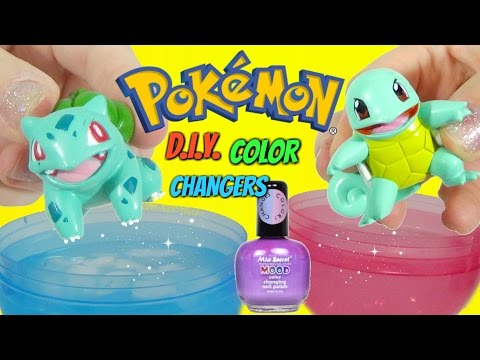POKEMON GO BULBASAUR SQUIRTLE PIKACHU Color Changing NAIL POLISH DIY Toy Surprises